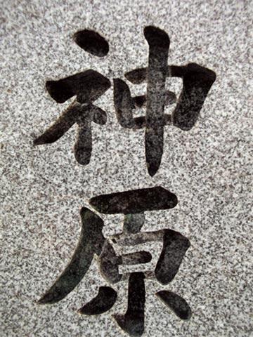 文字の中に、コケや水垢がこびり付き、文字全体が黒くなっています。